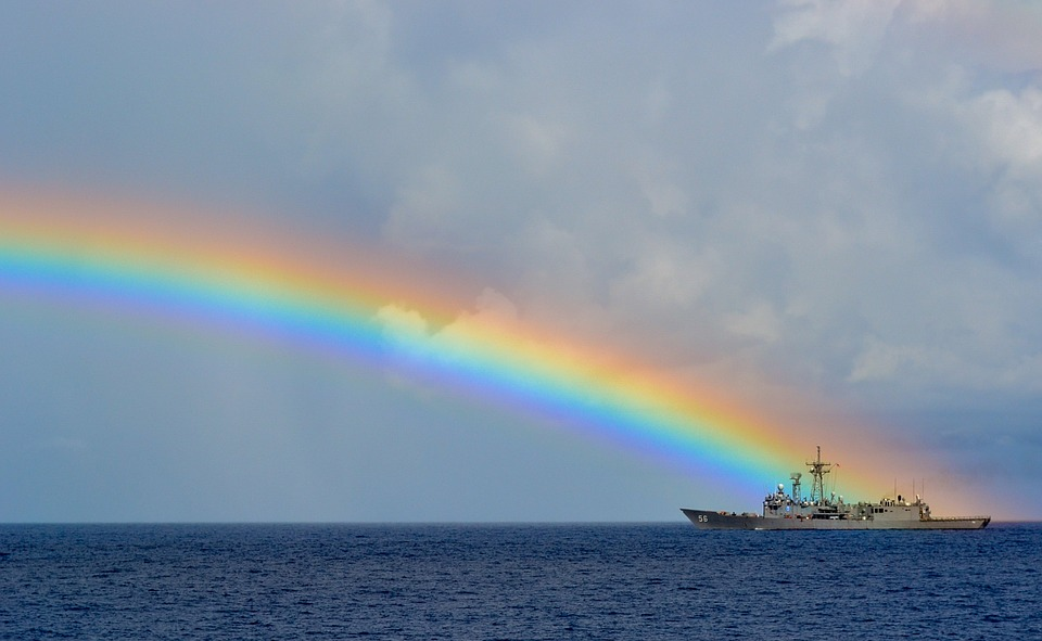 rainbow, at sea, sea