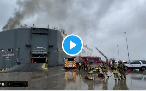 Major Fire on Car Carrier