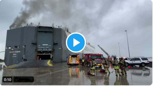 Major Fire on Car Carrier